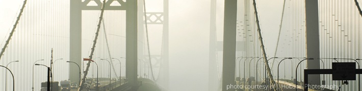 Tacoma Narrows Bridge with fog
